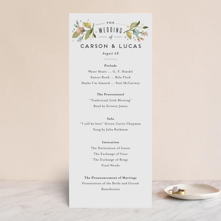 """""""Floral Ampersand"""" - Floral & Botanical, Vintage Foil-pressed Wedding Programs in Sea Breeze by Jennifer Wick."""