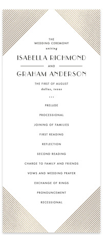 Gilt Foil-Pressed Wedding Programs