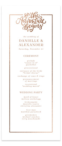 This is a portrait bold and typographic, brown, white Wedding Programs by Emily Skinner called Sweet Adventure with Foil Pressed printing on Signature in Classic Flat Card format. This 1 photo wedding invitation features hand lettered text with a subtle ...