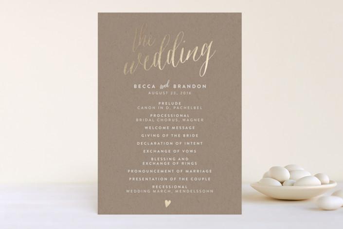 """Charming Love"" - Whimsical & Funny Foil-pressed Wedding Programs in Kraft by Melanie Severin."