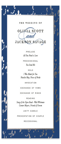 This is a portrait classical, elegant, blue, silver Wedding Programs by Carrie ONeal called Plunge with Foil Pressed printing on Signature in Classic Flat Card format. A classic wedding invite adorned with strokes of gold.