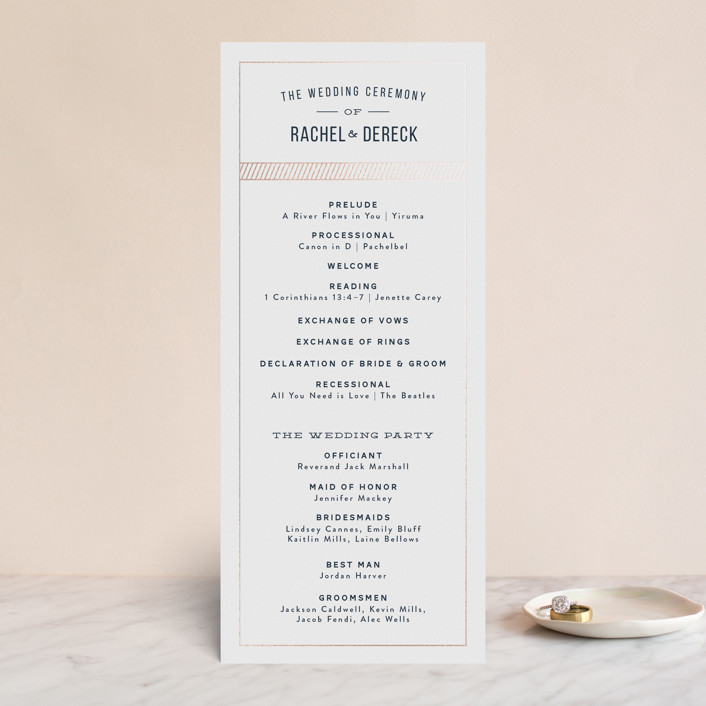 """""""Nautical By Nature"""" - Destination Foil-pressed Wedding Programs in Navy by Dana Beckwith."""