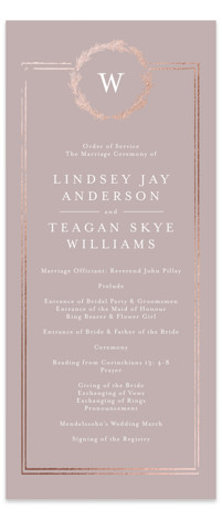 This is a brown Wedding Programs by Phrosne Ras called Little Wreath with Foil Pressed printing on Signature in Classic Flat Card format. Share the details of your wedding ceremony with a beautiful foil pressed wedding program, hand pressed with ...