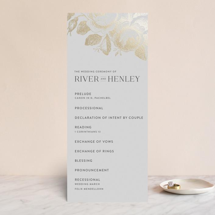 """Beloved"" - Foil-pressed Wedding Programs in Mist by Design Lotus."