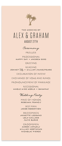 This is a portrait simple and minimalist, pink Wedding Programs by jot and tittle design called Gilded Palms with Foil Pressed printing on Signature in Classic Flat Card format. Share the details of your wedding ceremony with a beautiful foil ...