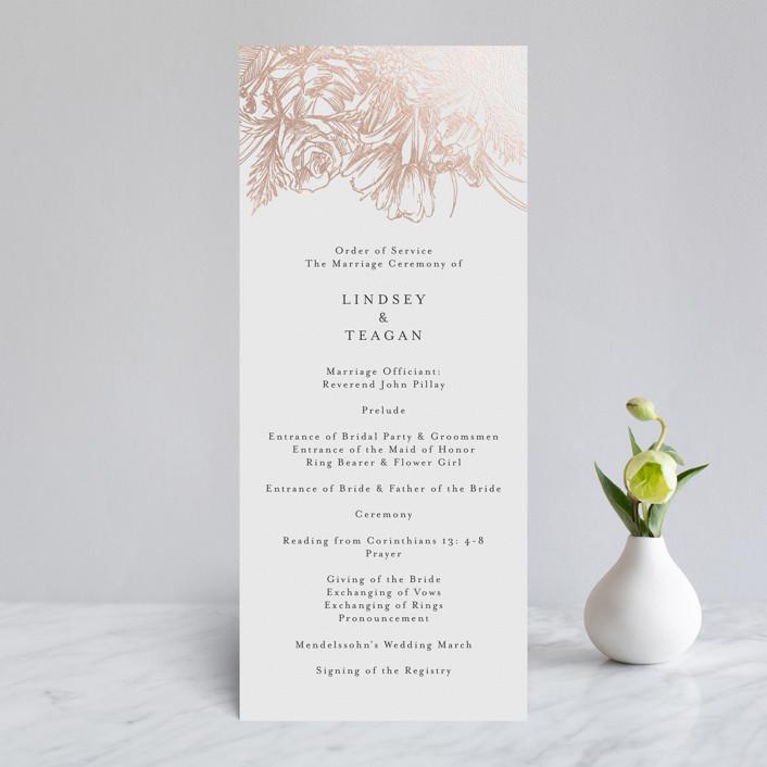 """Sketched Bouquet"" - Foil-pressed Wedding Programs in Petal by Phrosne Ras."