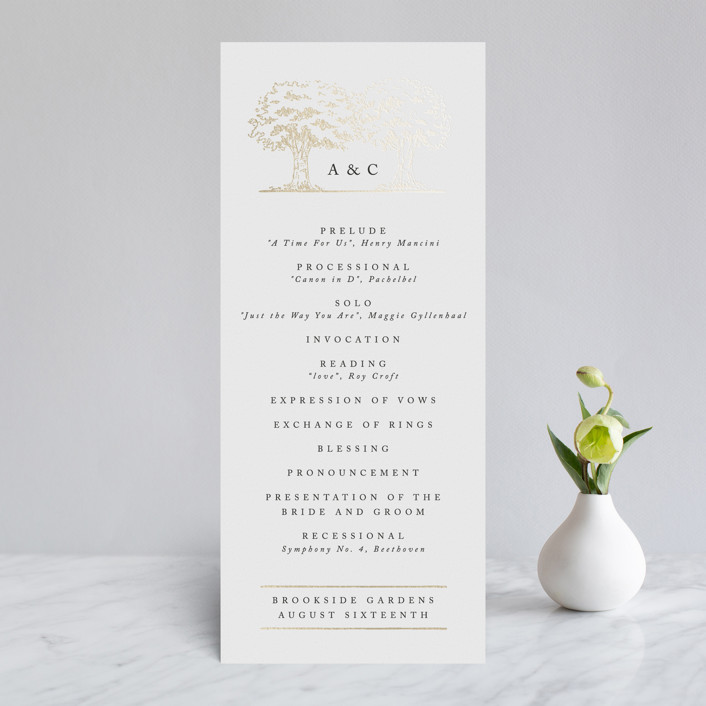 """""""A Poem For The Trees"""" - Rustic, Whimsical & Funny Foil-pressed Wedding Programs in Gold by Qing Ji."""