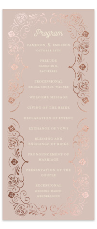 This is a purple, rosegold Wedding Programs by Ana de Sousa called Sweet leaves with Foil Pressed printing on Signature in Classic Flat Card format. Share the details of your wedding ceremony with a beautiful foil pressed wedding program, hand ...