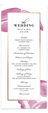 This is a botanical, painterly, purple, rosegold Wedding Programs by Laura Hamm called botanical leaves with Foil Pressed printing on Signature in Classic Flat Card format. Share the details of your wedding ceremony with a beautiful foil pressed wedding program, ...