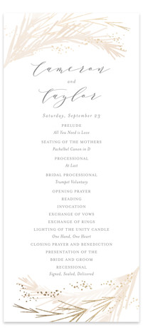 This is a bohemian, gold, pink Wedding Programs by Kristie Kern called Crush with Foil Pressed printing on Signature in Classic Flat Card format. Share the details of your wedding ceremony with a beautiful foil pressed wedding program, hand pressed ...