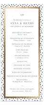 This is a gold unique wedding program by Lagniappe Paper called West Village with foil-pressed printing on signature in standard.