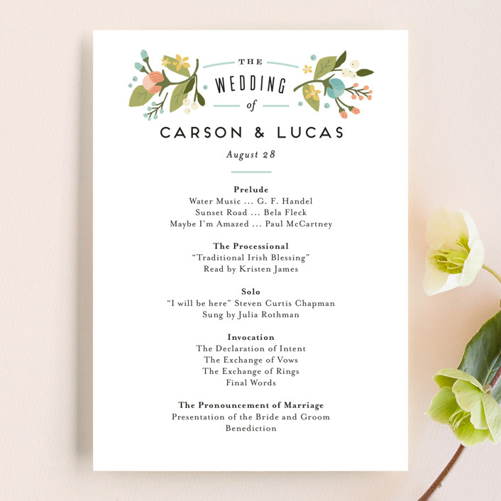 """Floral Ampersand"" - Floral & Botanical, Vintage Wedding Programs in Sea Breeze by Jennifer Wick."