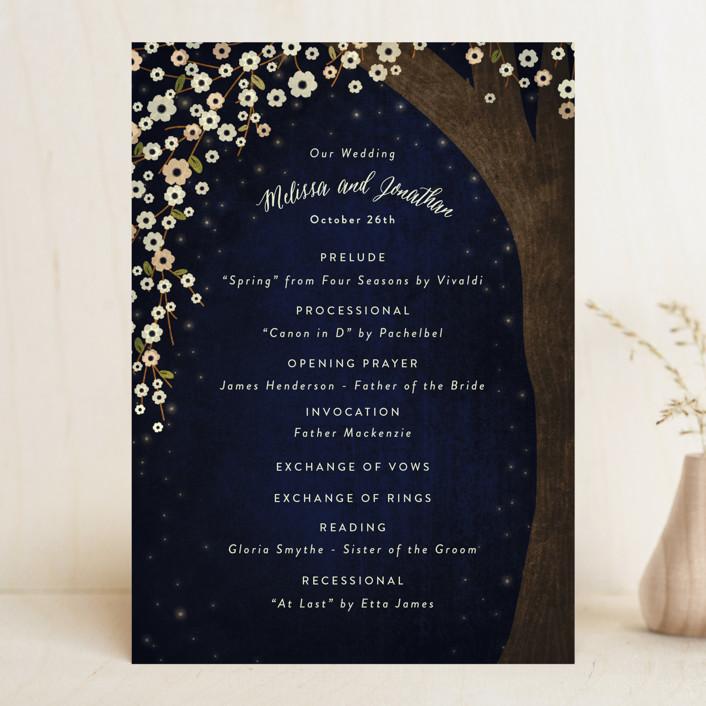 """""""Outside"""" - Rustic Wedding Programs in Navy by Rebecca Bowen."""