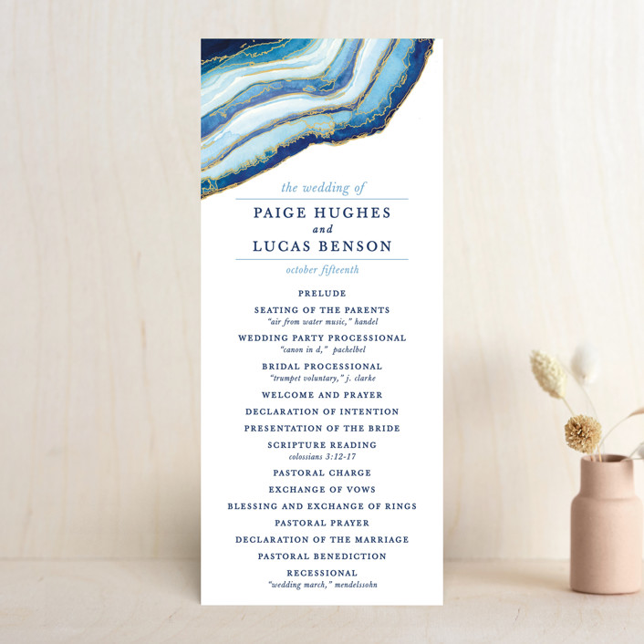 """Gilt Agate"" - Bohemian Wedding Programs in Navy by Kaydi Bishop."