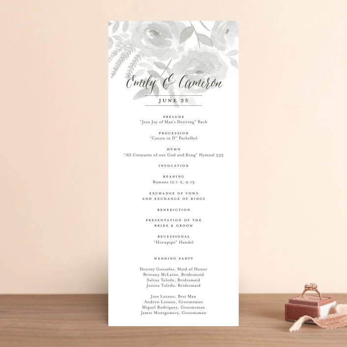 """""""Watercolor Floral"""" - Floral & Botanical Wedding Programs in Fog by Jill Means."""