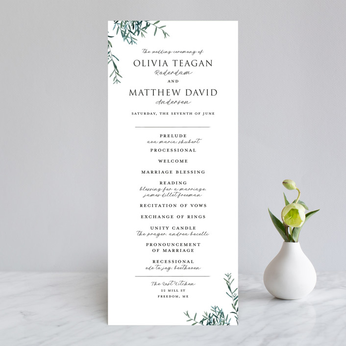 """Fresh Sage"" - Wedding Programs in Olive by Christie Kelly."