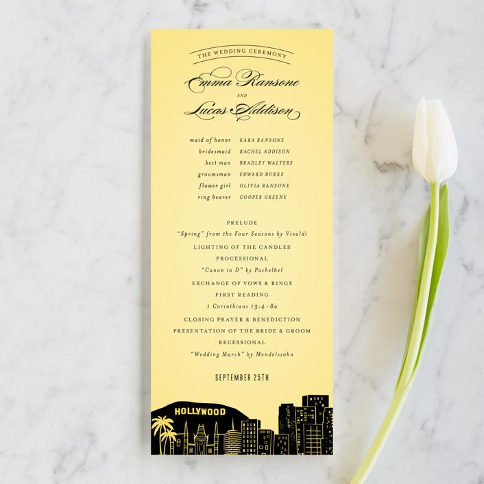 """""""Big City - Los Angeles"""" - Destination, Modern Unique Wedding Programs in Lemondrop by Hooray Creative."""
