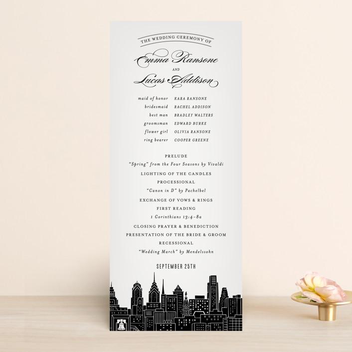 """Big City - Philadelphia"" - Destination, Modern Unique Wedding Programs in Light Taupe by Hooray Creative."