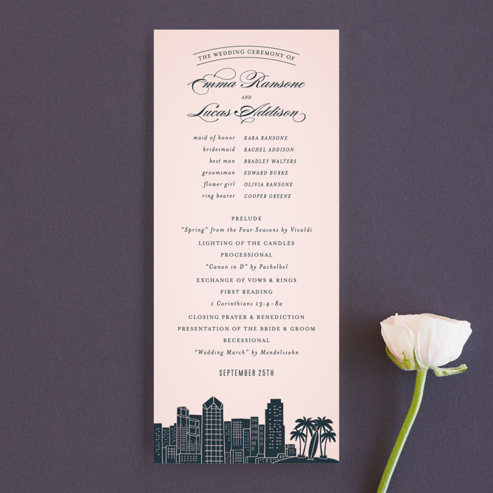 """Big City - San Diego"" - Destination, Modern Unique Wedding Programs in Blush by Hooray Creative."