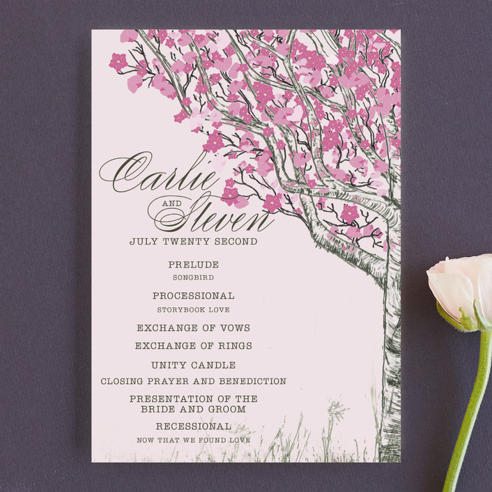 """Cherry Blossom"" - Rustic Unique Wedding Programs in Sweet Cherry by Jenifer Martino."