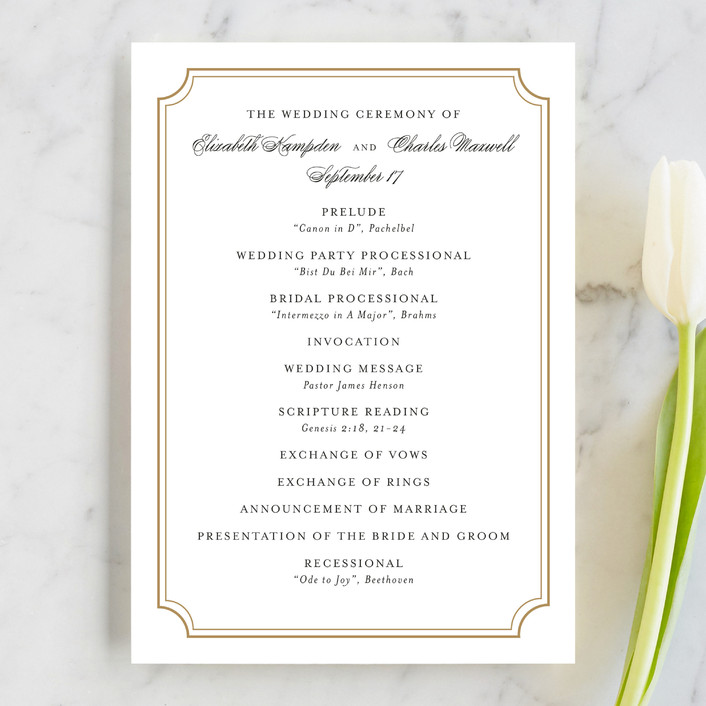 """Classy Type"" - Formal, Elegant Unique Wedding Programs in Golden by Kimberly FitzSimons."