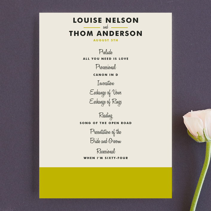 """Color Block"" - Modern, Simple Unique Wedding Programs in Lime by Paper Dahlia."