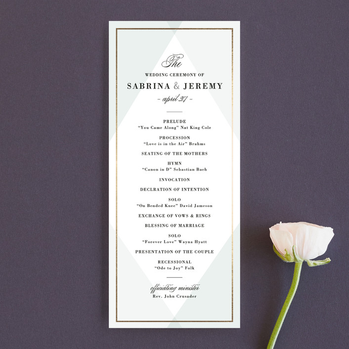 """Creme Brulee"" - Elegant, Classical Unique Wedding Programs in Mint by chocomocacino."