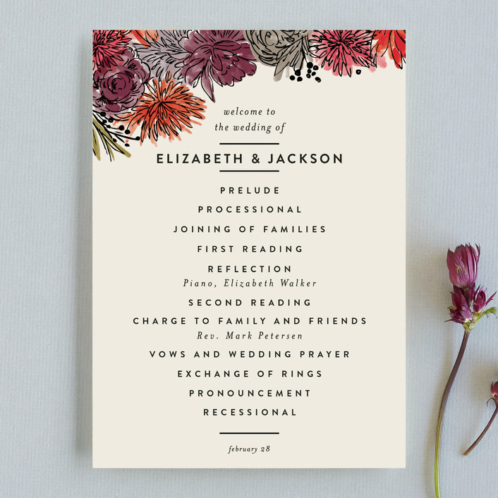 """Dahlia Bouquet"" - Floral & Botanical Unique Wedding Programs in Wine by Alethea and Ruth."
