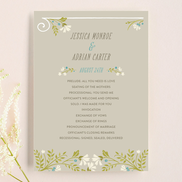 """Delicate Blooms"" - Floral & Botanical, Whimsical & Funny Unique Wedding Programs in Stone by GeekInk Design."