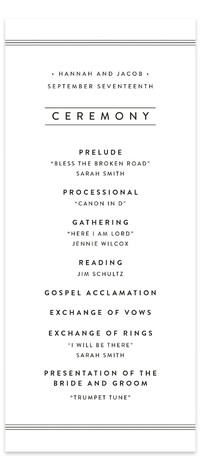 This is a portrait modern, simple, black and white Wedding Programs by Stacey Meacham called Elegantly Framed with Standard printing on Signature in Classic Flat Card format. Share the details of your wedding ceremony with a beautiful wedding program printed ...
