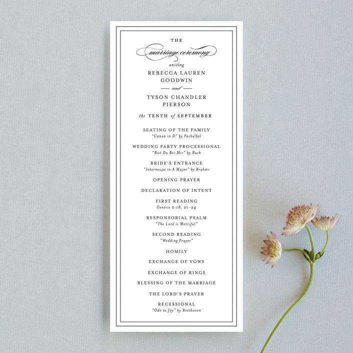 """""""Eloquence"""" - Wedding Programs in Vanilla by Kimberly FitzSimons."""