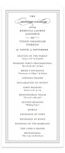 This is a black and white unique wedding program by Kimberly FitzSimons called Eloquence with standard printing on signature in standard.