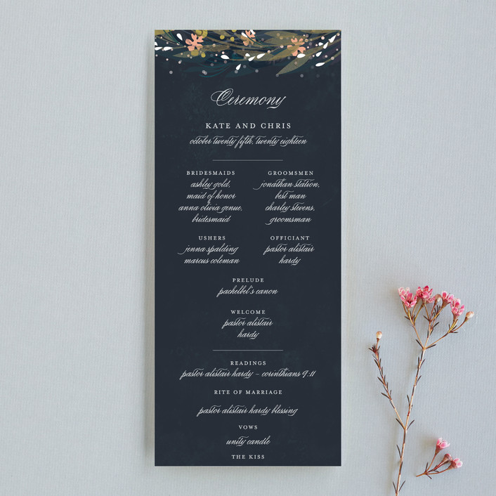 """Floral Crown"" - Floral & Botanical, Whimsical & Funny Unique Wedding Programs in Navy by Lori Wemple."
