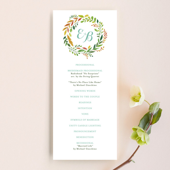 """Forest Wreath"" - Floral & Botanical Unique Wedding Programs in Forest Leaves by Ariel Rutland."