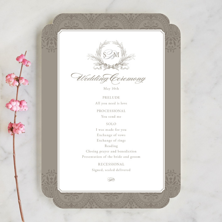 """Formalities"" - Classical Unique Wedding Programs in Warm Grey by Milkmaid Press."