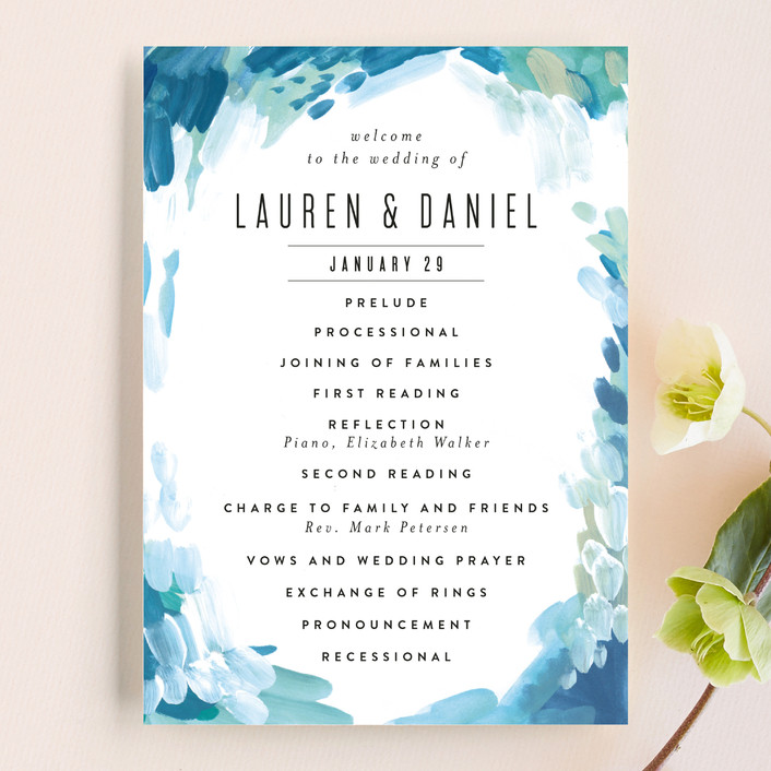 """Gallery Abstract Art"" - Wedding Programs in Ocean by Alethea and Ruth."