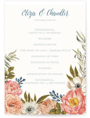 Garden Rose Wedding Programs