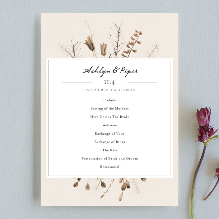 """Gone To Seed"" - Bohemian Wedding Programs in Taupe by Honeybunch Studio."