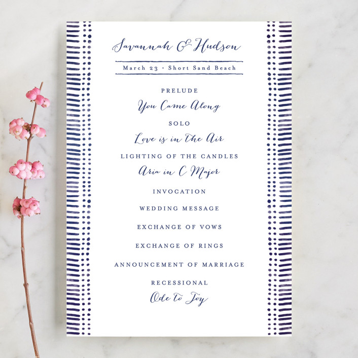 """Indigo Print"" - Abstract Unique Wedding Programs in Navy by Pistols."