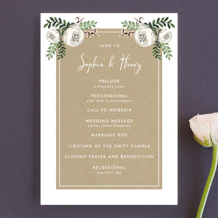 """Krafted Florals"" - Floral & Botanical Unique Wedding Programs in Blush by Lehan Veenker."