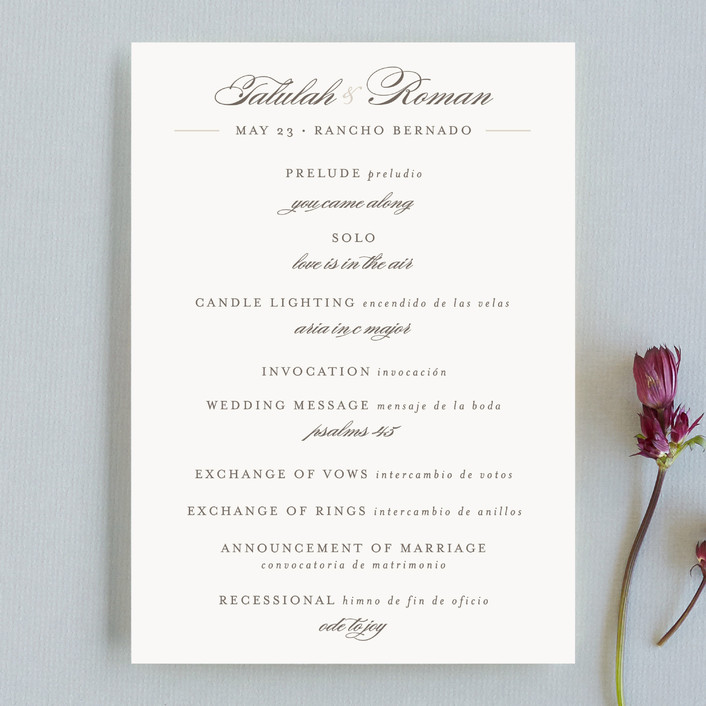 """""""Love Language"""" - Formal, Classical Unique Wedding Programs in Warm Slate by Pistols."""