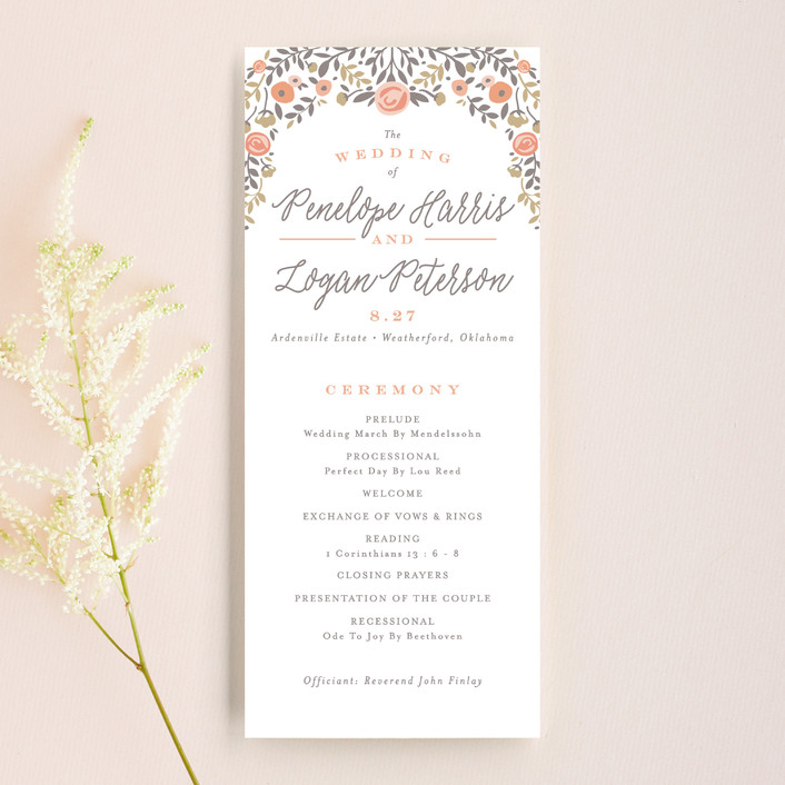 """Lover's Floral Frame"" - Floral & Botanical Unique Wedding Programs in Coral by Andrea Snaza."