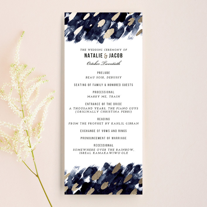 """Midnight And Gold"" - Abstract Unique Wedding Programs in Midnight by Papernoten."