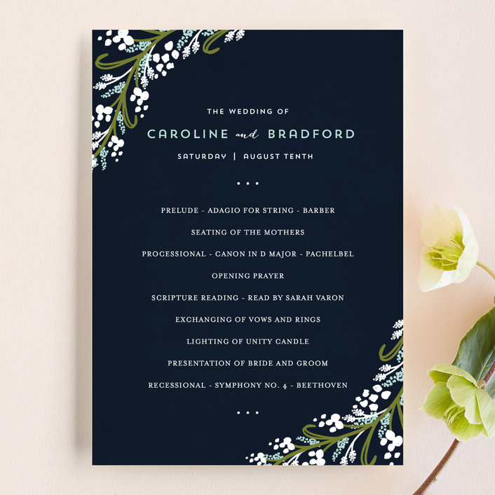 """Midnight Floral"" - Floral & Botanical, Rustic Wedding Programs in Indigo by Angela Marzuki."