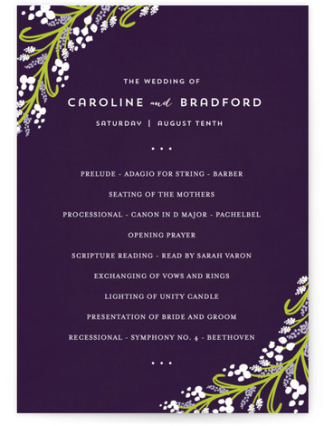 This is a portrait floral, rustic, purple, green Wedding Programs by Angela Marzuki called Midnight Floral with Standard printing on Signature in Classic Flat Card format. Share the details of your wedding ceremony with a beautiful wedding program printed on ...