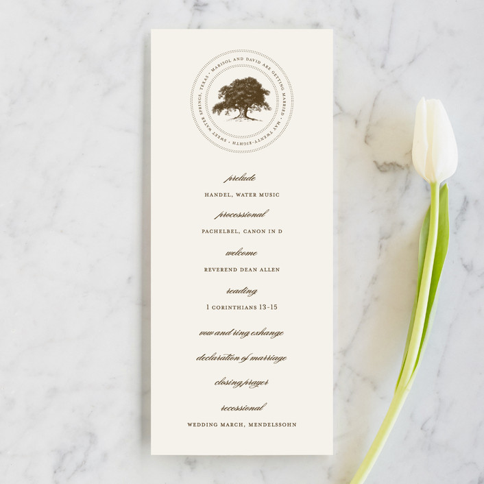 """Modern Crest"" - Rustic Unique Wedding Programs in Gravy by Milkmaid Press."
