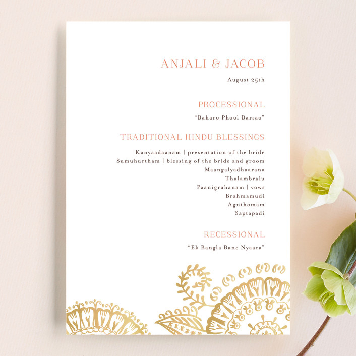 """Modern Mehndi"" - Modern Unique Wedding Programs in Gold by Laura Condouris."