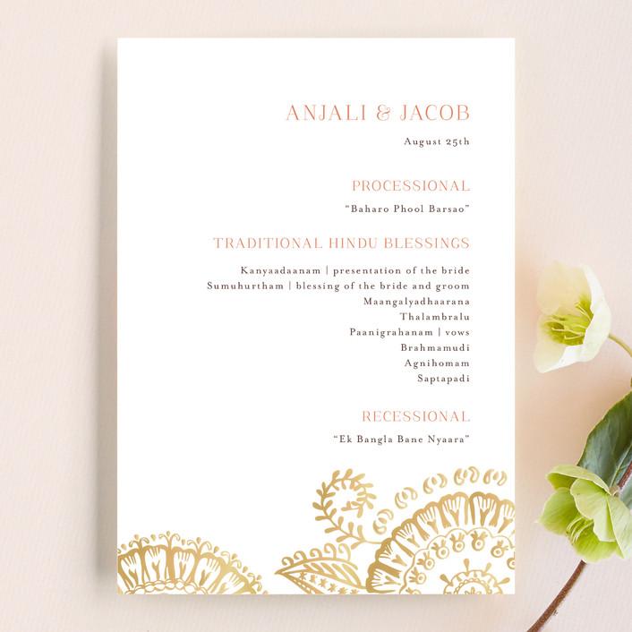 """Modern Mehndi"" - Modern Unique Wedding Programs in Gold by Laura Condouris."