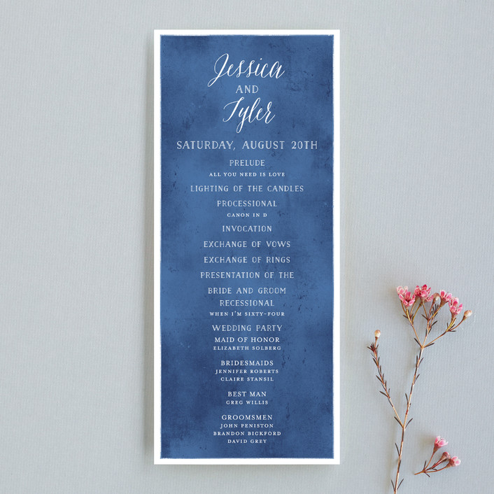 """Paint Swatch"" - Elegant, Classical Unique Wedding Programs in Sapphire by Jill Means."