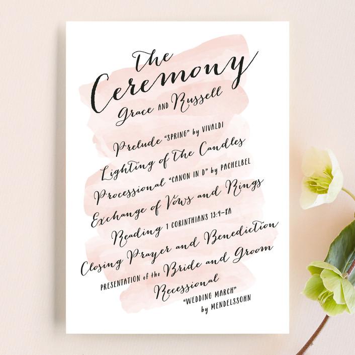 1 Corinthians 13 Wedding Reading.Pastel Watercolor Wash Customizable Wedding Programs In Pink By Hooray Creative